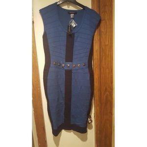 Blue bodycon sweater Dress